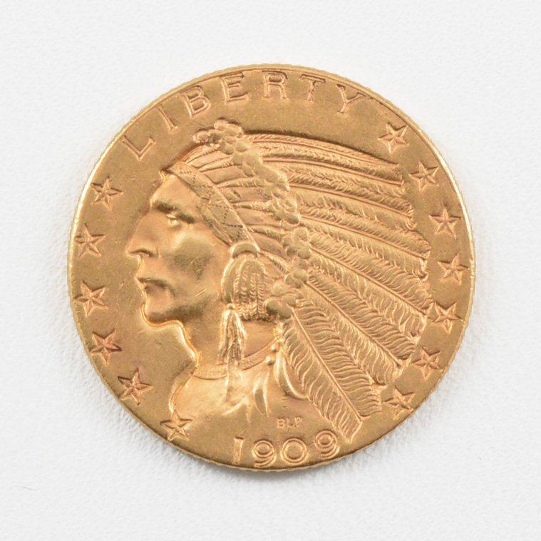 1909 D $5 Indian Head Gold Half Eagle