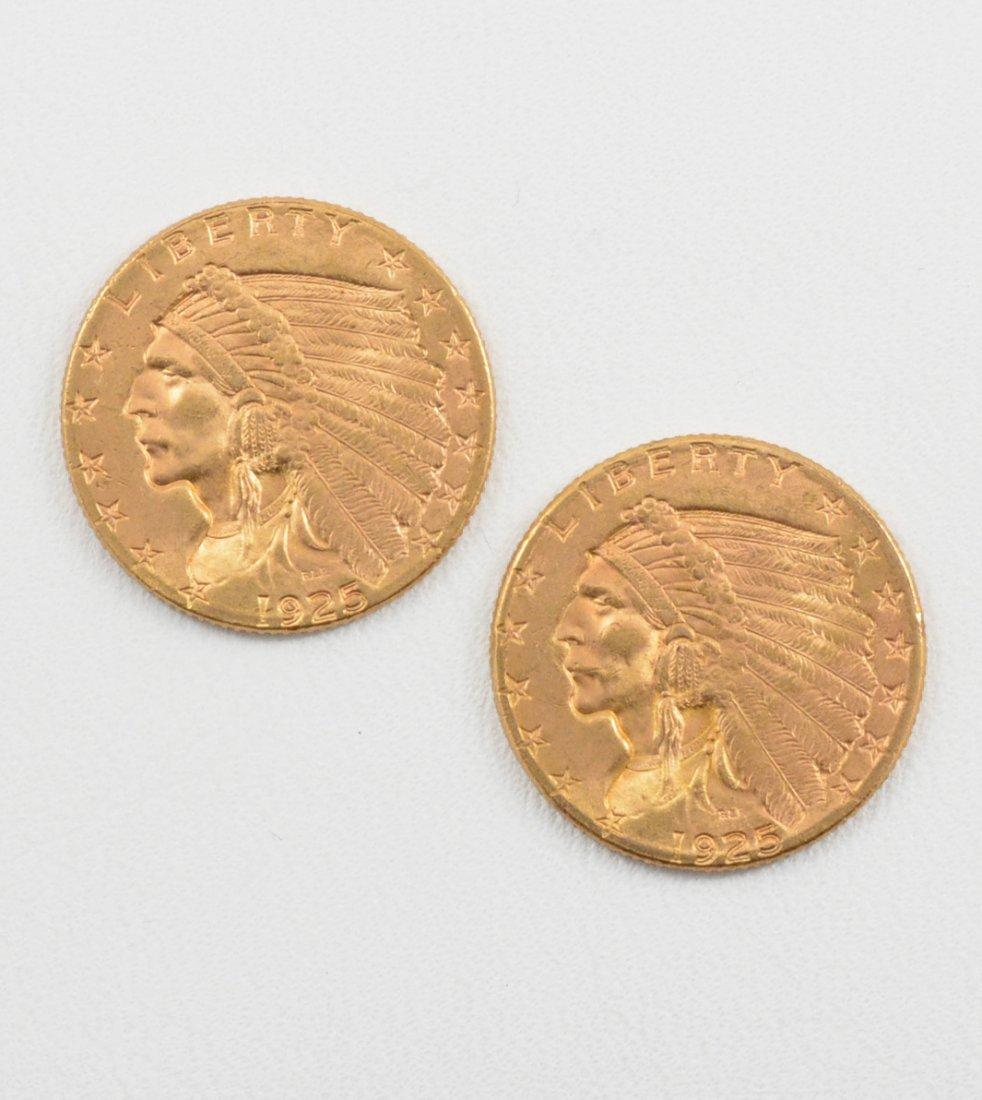 2 - 1925-D $2 1/2 Indian Head Quarter Eagle Gold Coins