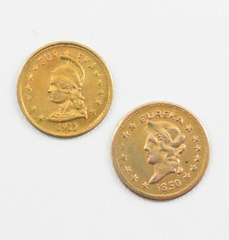 2 - $1 California Gold Coins, 1850 &1915