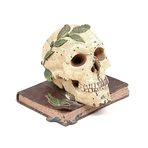 Austrian Bronze Skull Inkwell