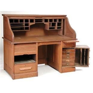 Oak Roll Top Desk.