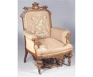 Victorian Renaissance Revival Armchair.