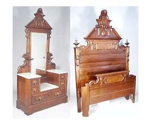 Victorian Walnut Two Piece Bedroom Suite.