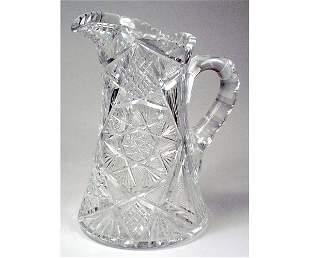 Cut Glass Glass Pitcher.