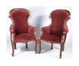 Pair Victorian Style Gents Chairs.
