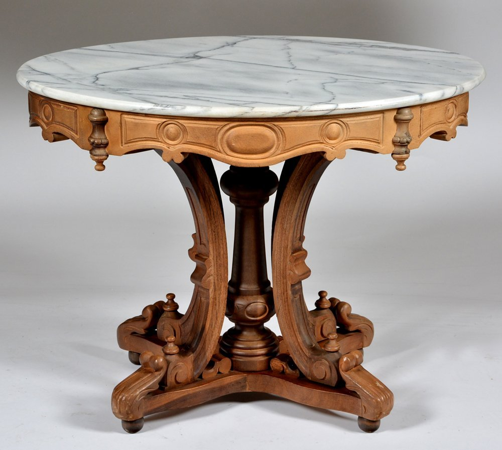 Fancy Victorian Walnut Marble Top Parlor Table