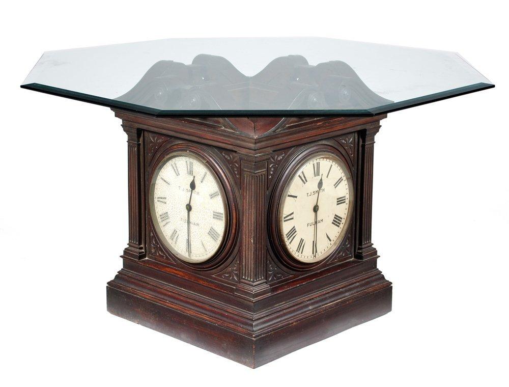 "Unusual 4-Sided Clock ""Table Base"", hexagonal glass top"