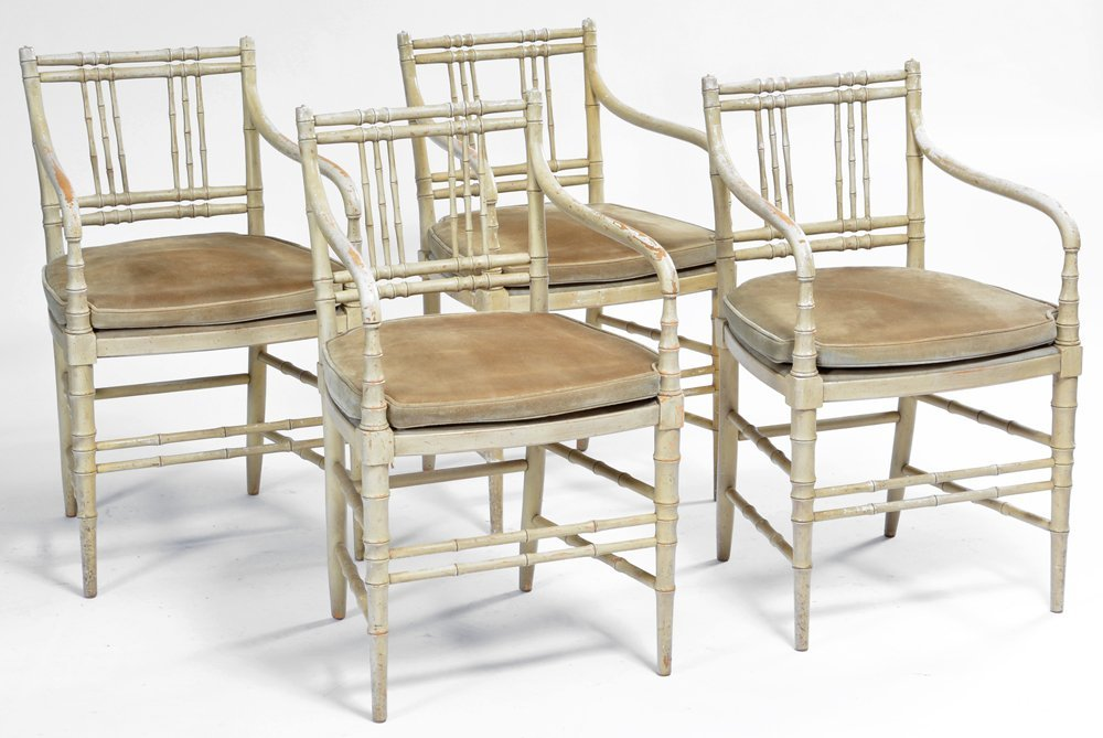 Set of 4 Faux Bamboo Armchairs, suede seats