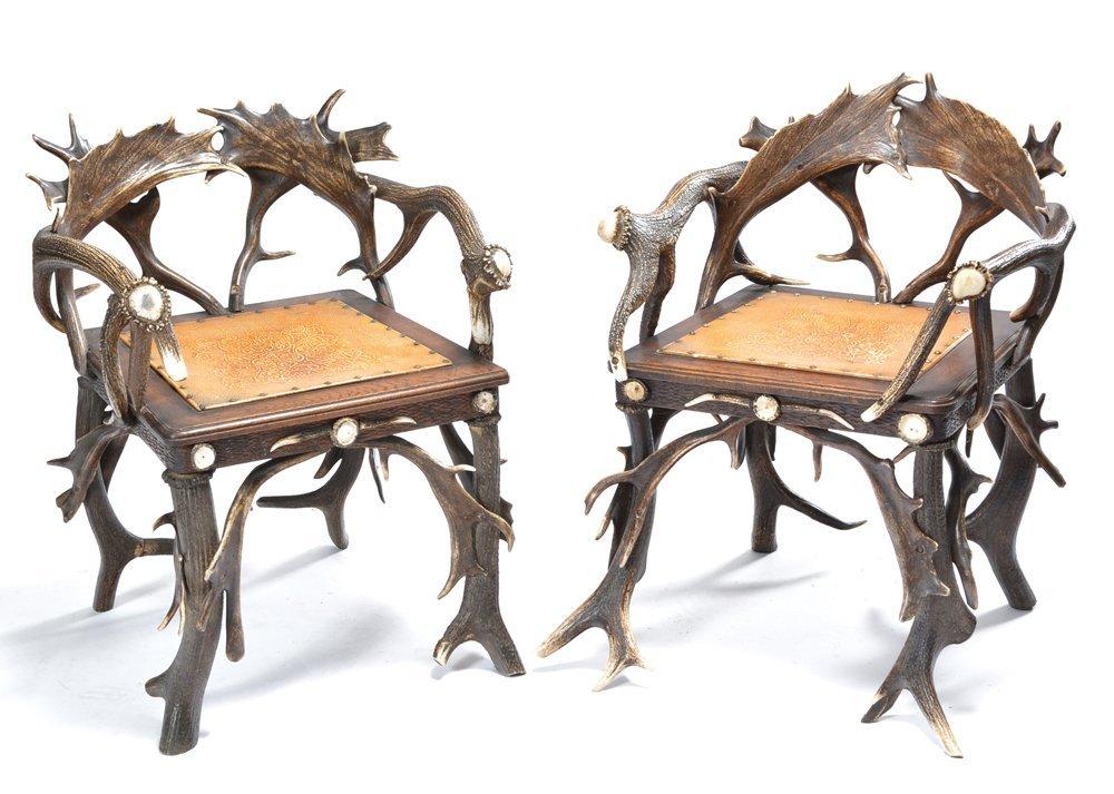 Pair Of German Antler Armchairs