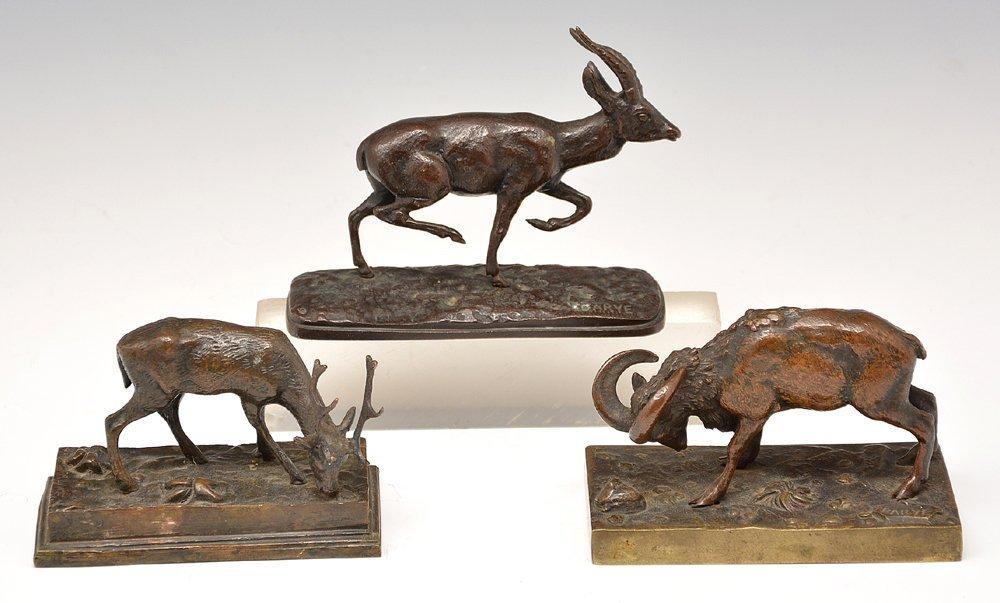 Antoine-Louis Barye, 3 Bronzes, Stag, Sheep, Emu, 19th
