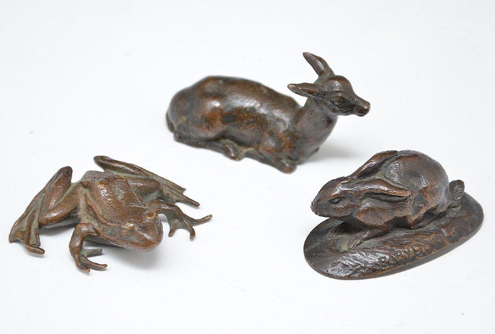 Antoine-Louis Barye, 3 Bronzes: Rabbit, Deer & Frog,