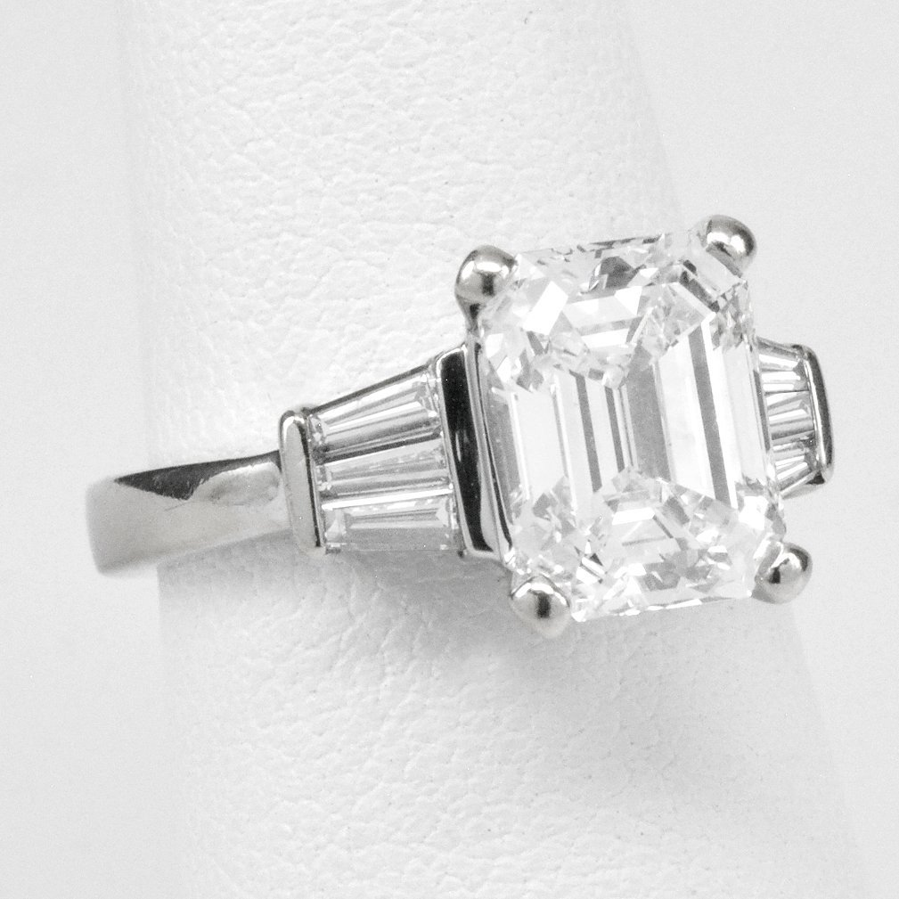 GIA 3.21 Carat Emerald-Cut Diamond Ring