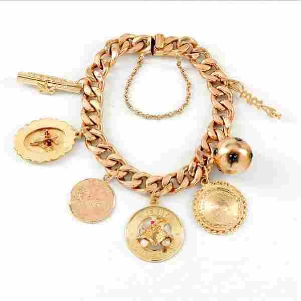 18kyg Charm Bracelet with Precious Stone Charms