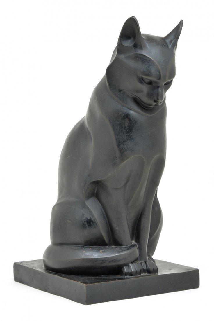 "Edouard-marcel Sandoz, ""Chat Assis"", Bronze, 16 5/8"""