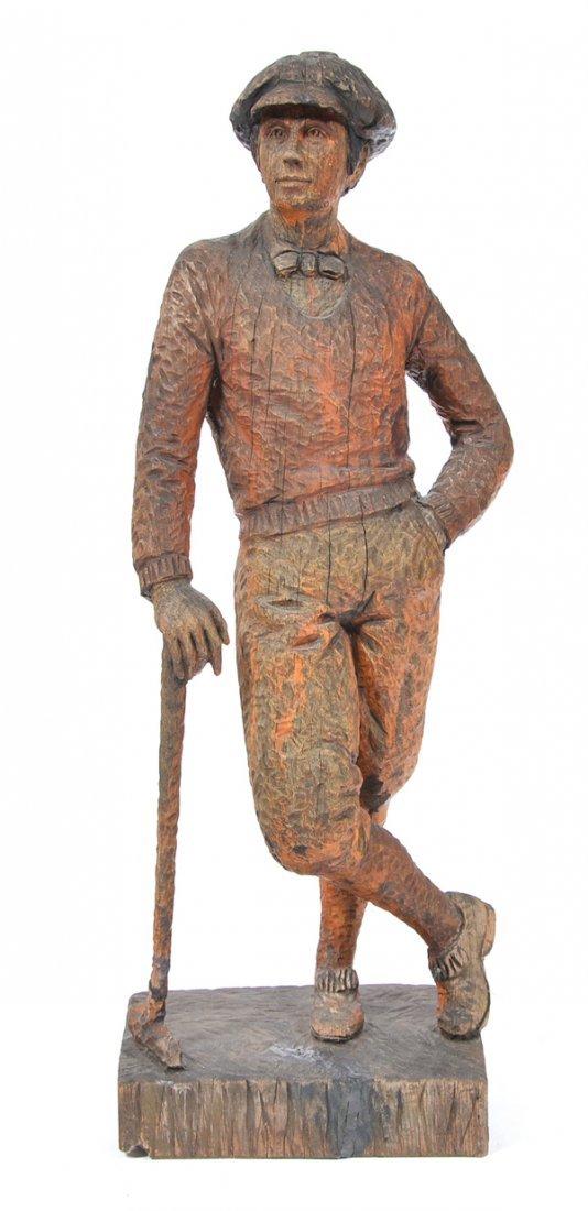 """1920's carved wooden golfer, signed H. Ward, 44"""" t"""