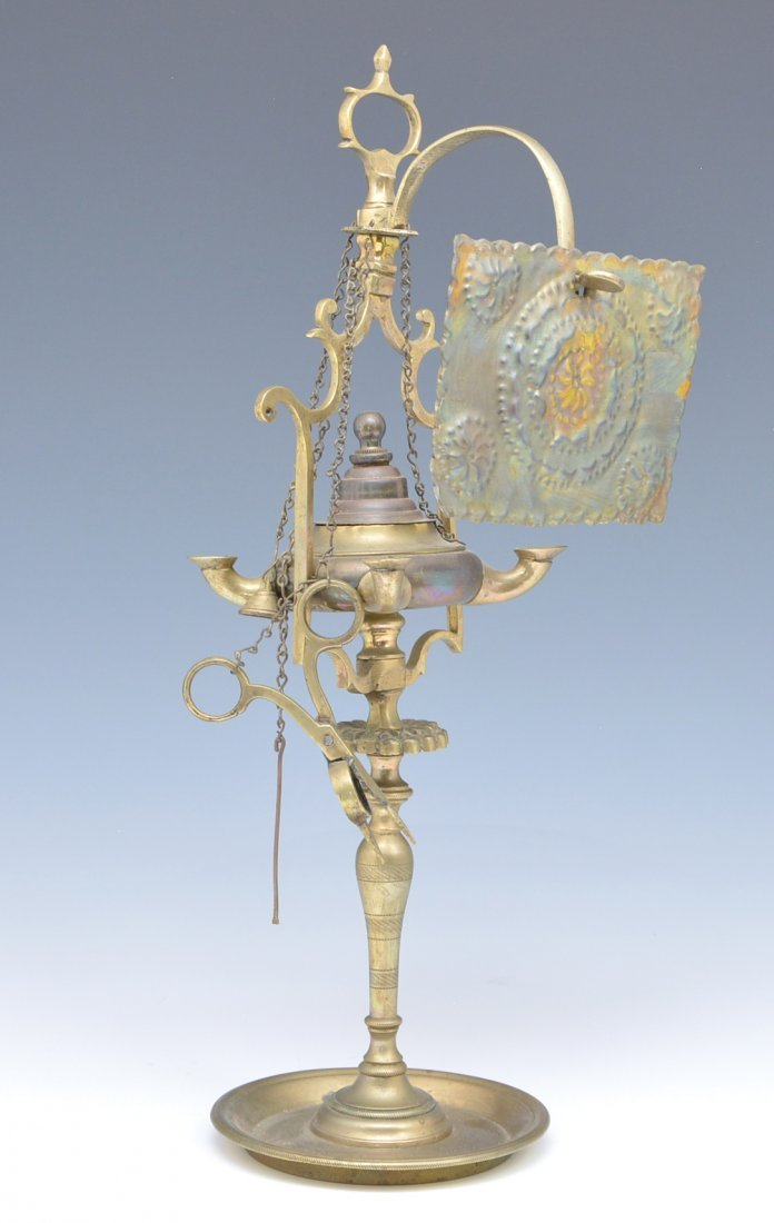 """Brass whale oil lamp with tin reflector, 16""""t"""