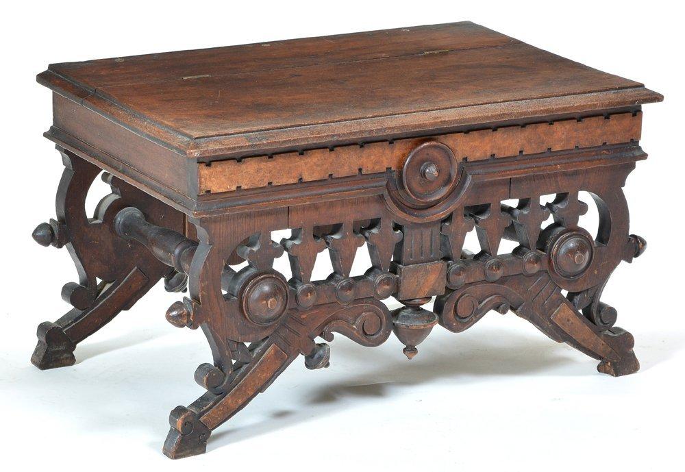 Victorian walnut slipper box