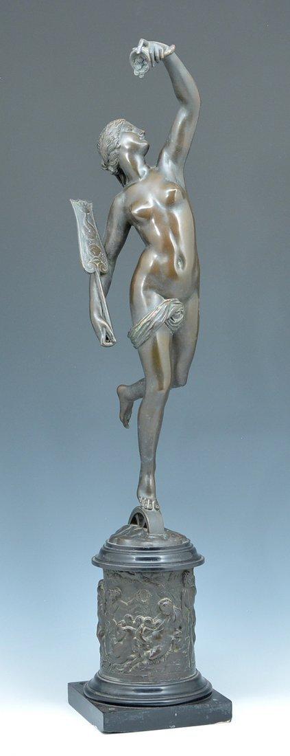 "19th c Bronze, Roman goddess Fortuna, 30 1/2"""