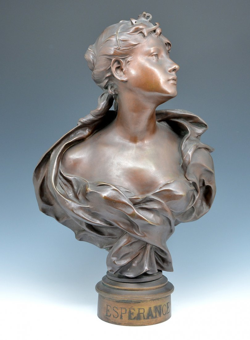 "19th c Bronze bust, ""Esperance"", by Richard"