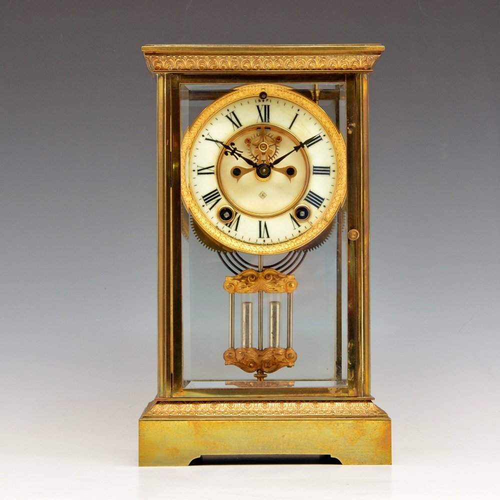 Ansonia Crystal Regulator Brass Mantle Clock