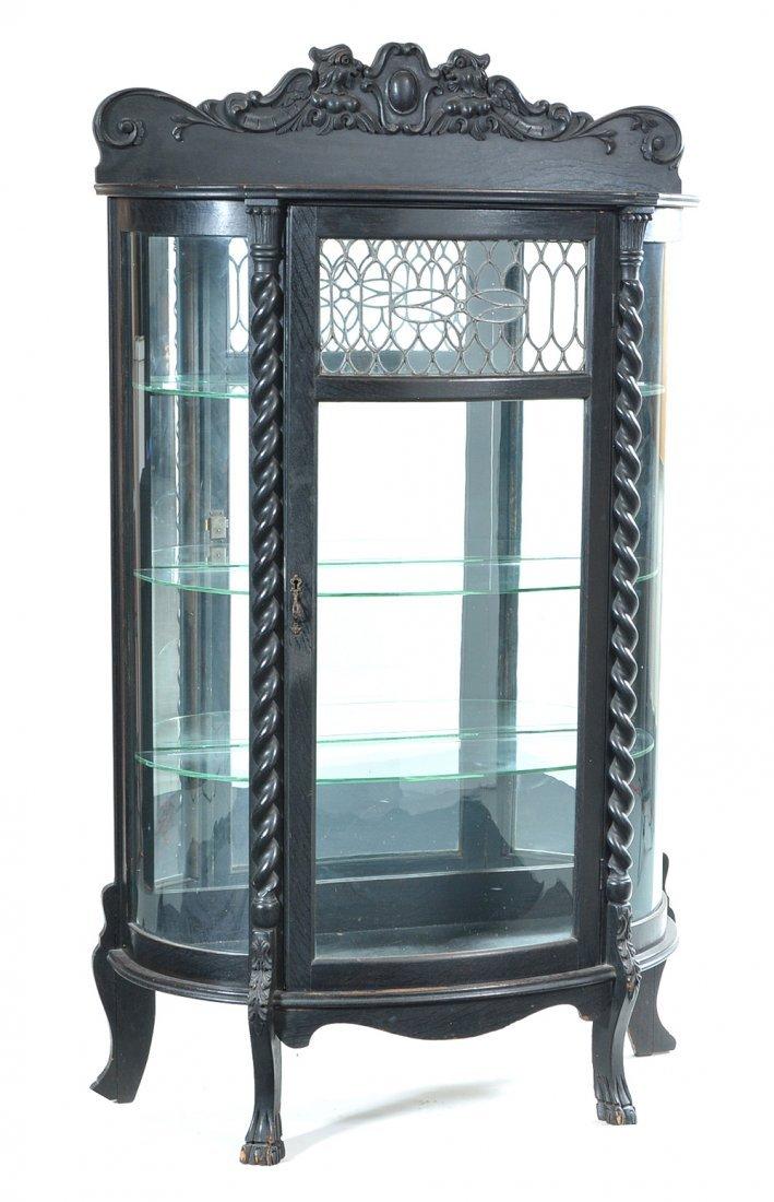 Fancy curved glass oak china cabinet