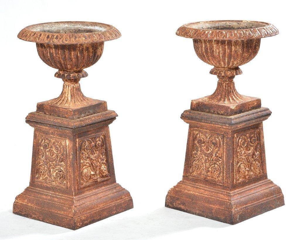 """Pair of 19th c cast iron 2 piece garden urns, 32""""t x"""