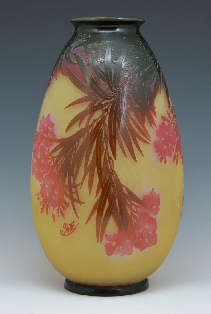 """Large Galle Cameo Glass Vase, 18"""" tall"""
