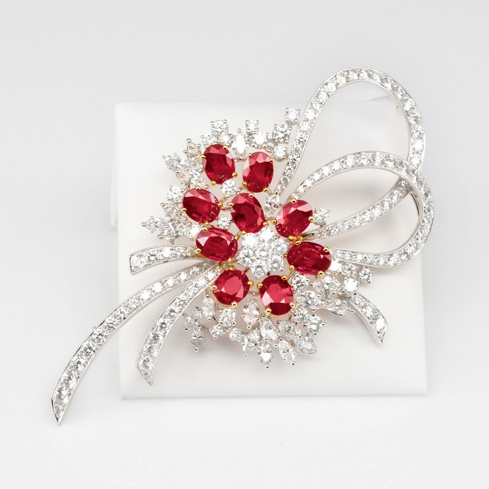 Spectacular Ruby & Diamond Brooch