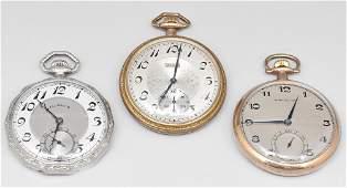 Lot of Three Pocket Watches Waltham Illinois Elgin