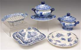 Grouping of English blue  white stoneware 5 pcs