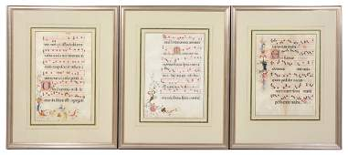 3 Illuminated breviary leaves on vellum