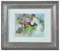 Fil Mottola painting, woman in garden