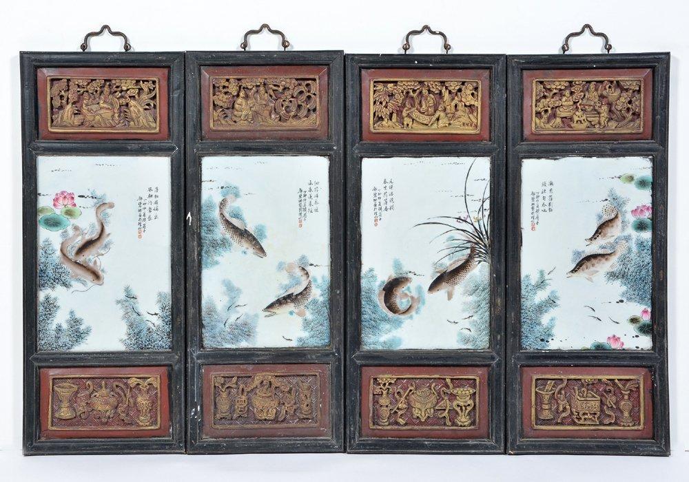 4 Chinese enameled porcelain plaques, Deng Bishan