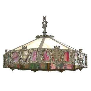 Gothic Style Stained Glass Dome Chandelier.