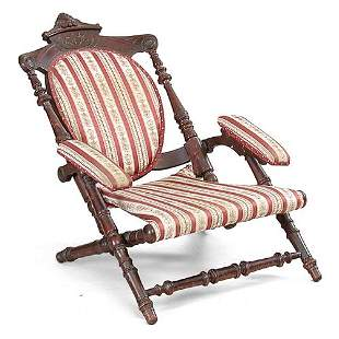 Victorian Carved Walnut Chair.
