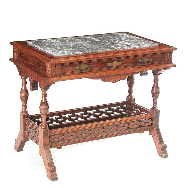 3: Eastlake Marble Top Library Table