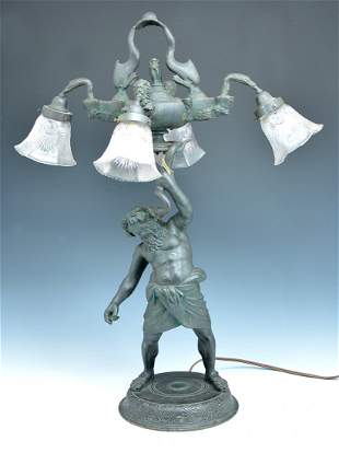 Neapolitan Patinated Bronze Lamp of Silenus