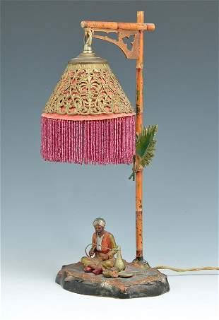 "Austrian Cold Painted Bronze Figural Lamp, 16""t"