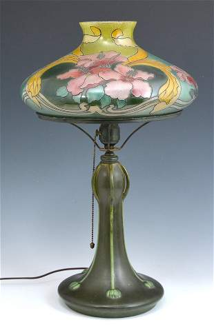 Early Handel table lamp on Hampshire pottery base