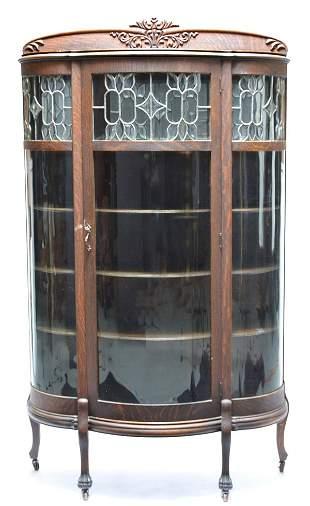 American Victorian oak china cabinet, 19th c