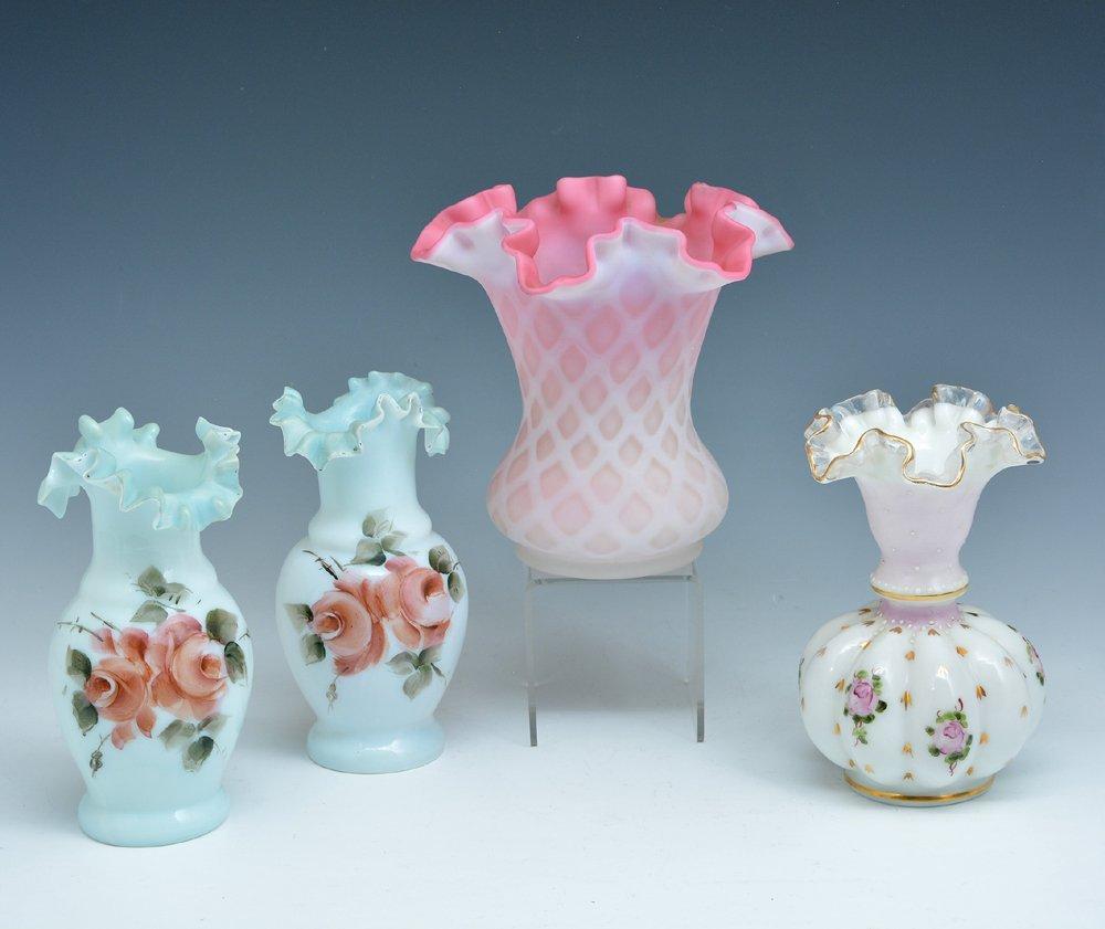 4 Art Glass Vases, incl. Peach Blow & Vaseline
