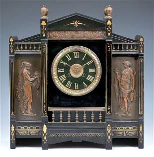 Fancy aesthetic revival mantel clock, bronze & slate,