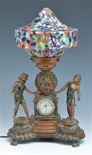 New Haven figural clock with Czech art glass shade