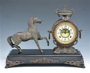 New Haven Figural Mantle Clock, Prancing Horse