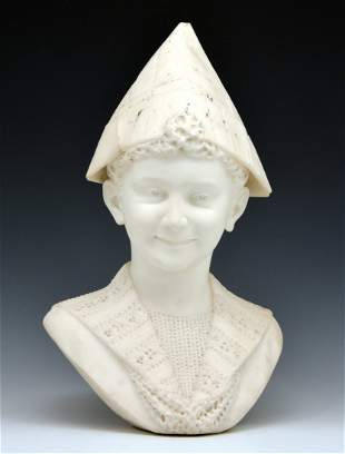 White marble bust, Boy with Newspaper Hat