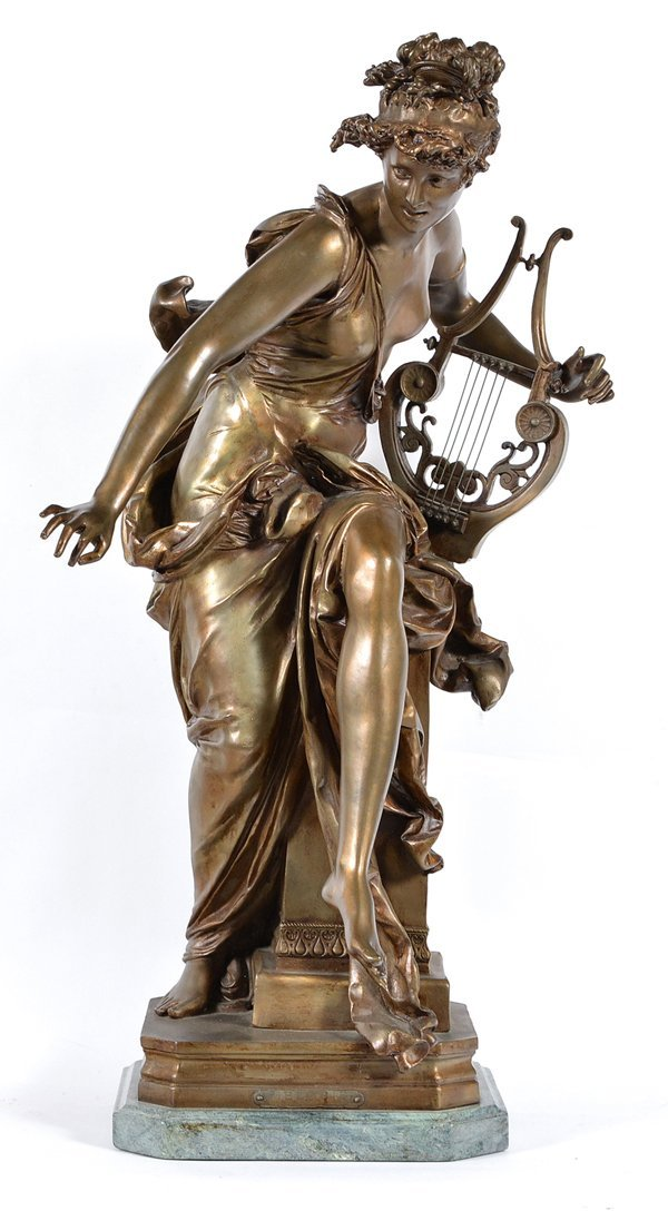 Bronze, Woman with a Harp, signed. Early 20th C.