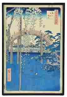 HIROSHIGE, Grounds of the Tenjin Shrine, woodblock