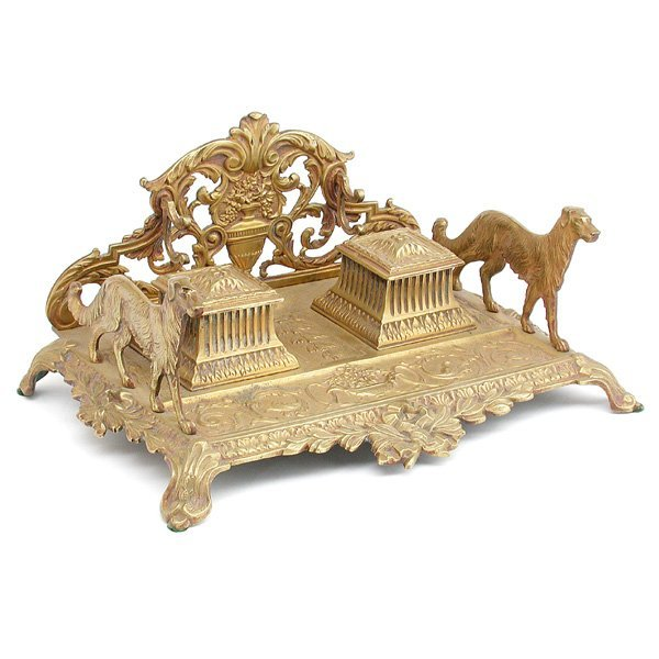 4: French Gilt Bronze Double Inkwell with Dogs