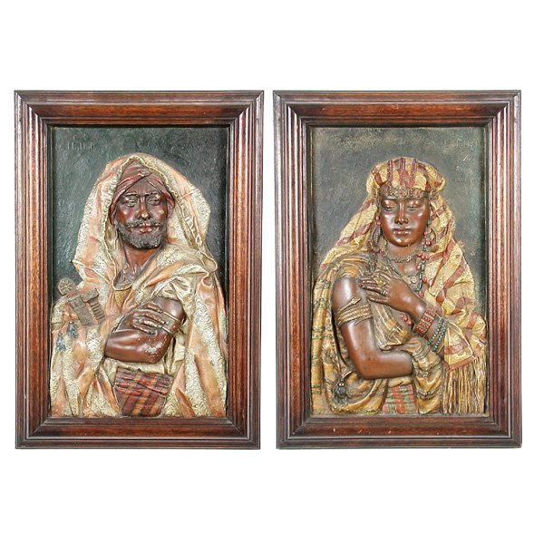 8: Louis Hottot Faux Bronze  Relief Portraits, Pair