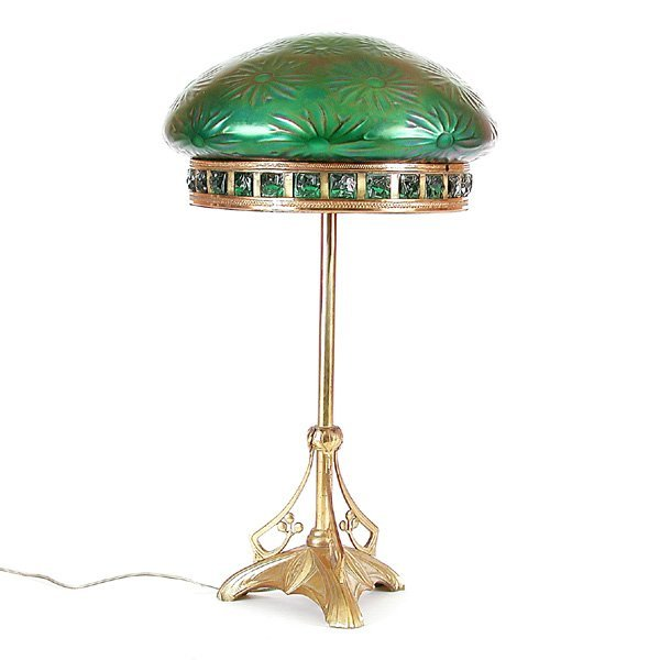 12: Austrian Chunk Jewel Lamp with Iridized Shade
